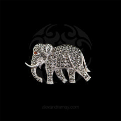 Luke Stockley Sterling Silver & Marcasite Elephant Brooch (AB148)