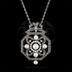 Sterling Silver & Marcasite Hexagonal Pearl Pendant Necklace (UVE56)