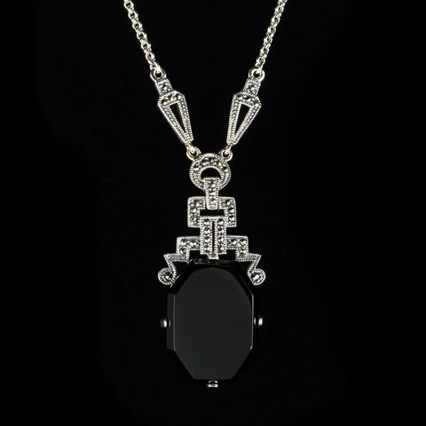Luke Stockley Marcasite Art Deco Black Onyx Pendant Necklace (N117O)