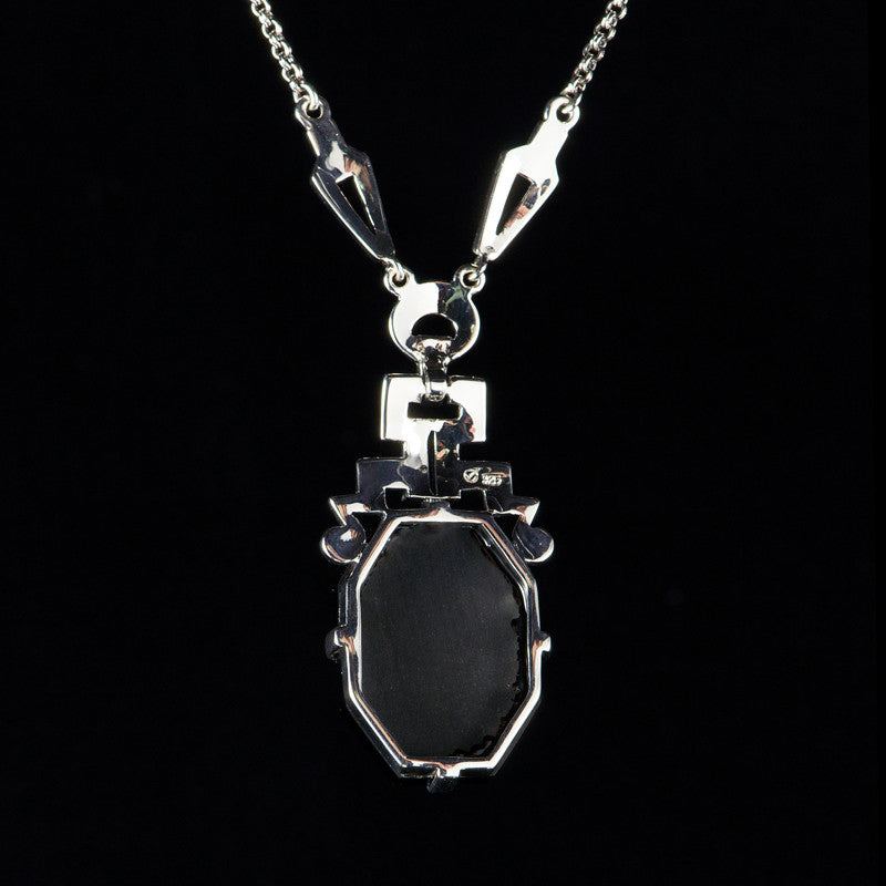 Luke stockley marcasite art deco black onyx pendant necklace n117o mozeypictures Image collections