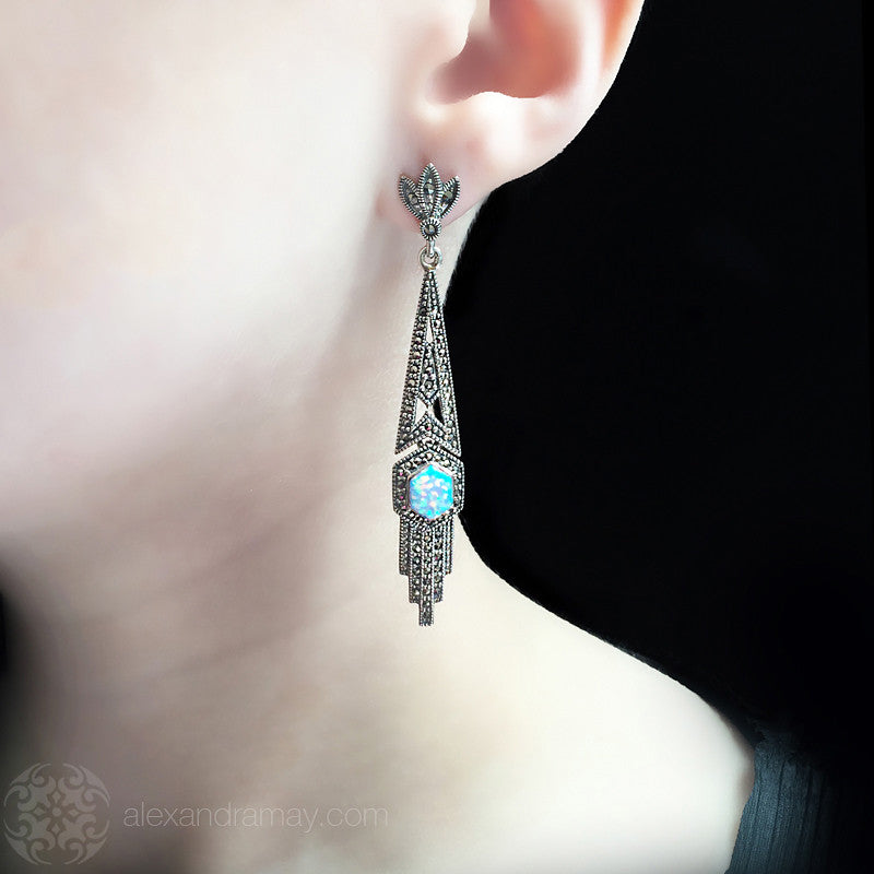 Luke Stockley Marcasite Long Art Deco Blue Opal Long Earrings (HE111 BOP)