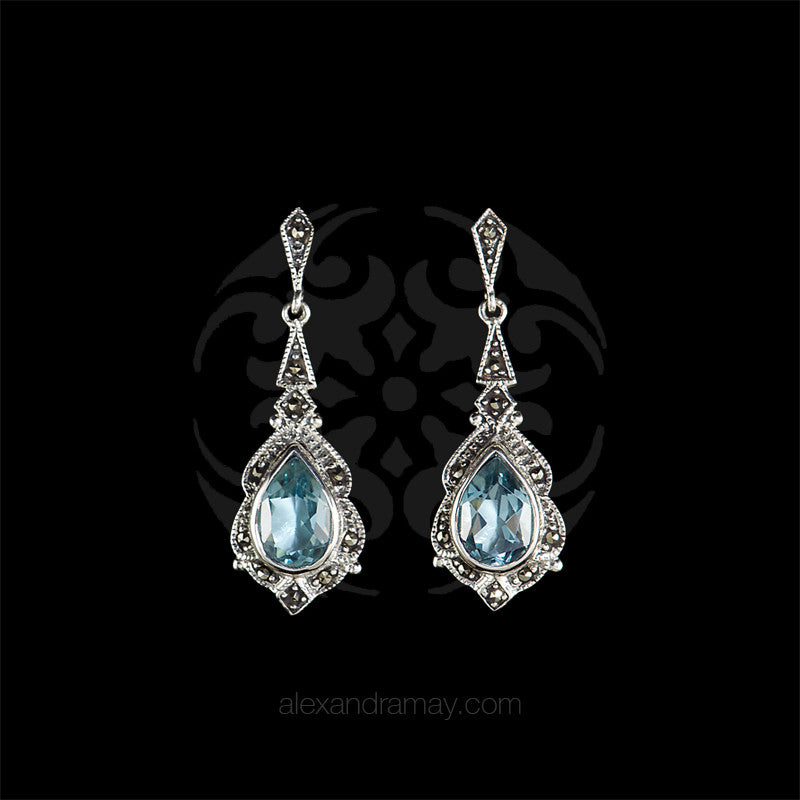 Luke Stockley Sterling Silver & Marcasite Blue Topaz Drop Earrings (EM828BT)