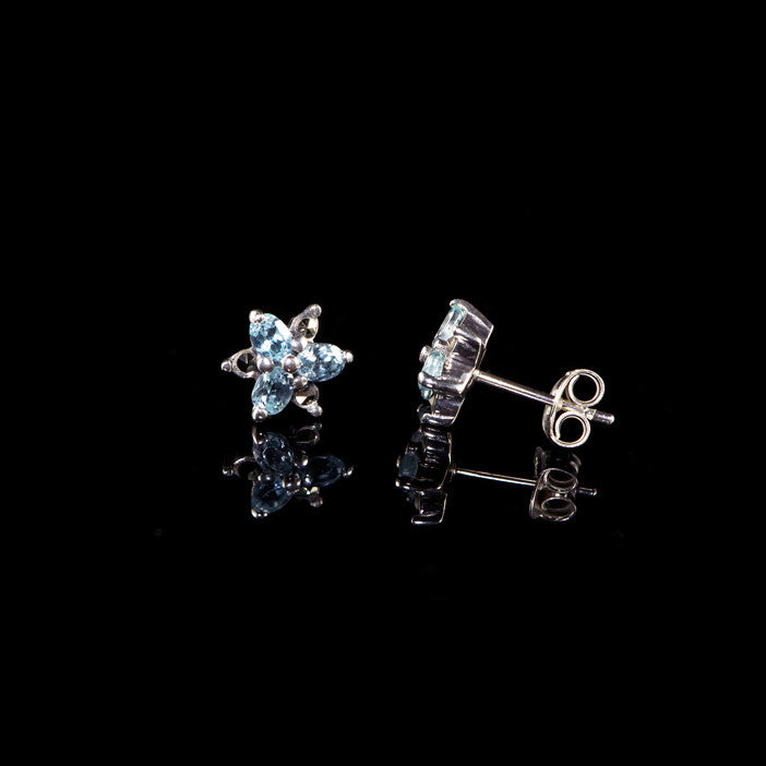 Luke Stockley Marcasite Tiny Blue Topaz Star Stud Earrings (HE375-BT)