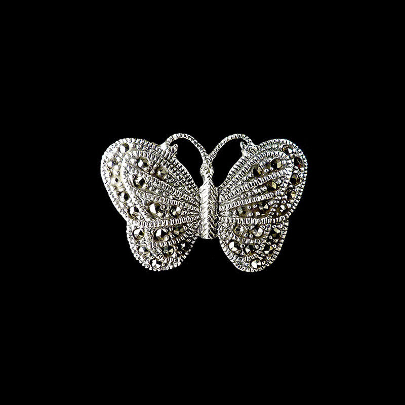 Luke Stockley Marcasite Tiny Butterfly Brooch (BM740)