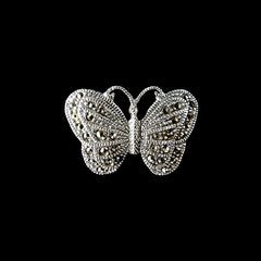 Luke Stockley Sterling Silver & Marcasite Tiny Butterfly Brooch (BM740)