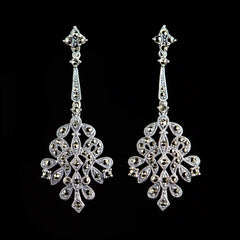 Sterling Silver & Marcasite Classical Long Fretwork Drop Earrings - main