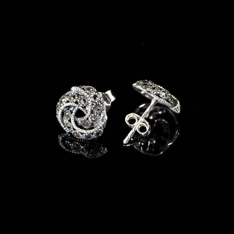 Sterling Silver & Marcasite Classic Knot Stud Earrings - detail