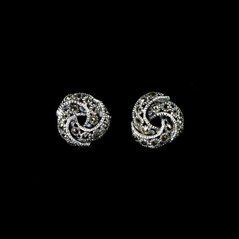 Sterling Silver & Marcasite Classic Knot Stud Earrings - main