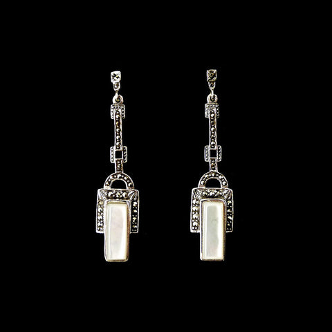 Luke Stockley Marcasite Art Deco Mother of Pearl Earrings (239MOP) front