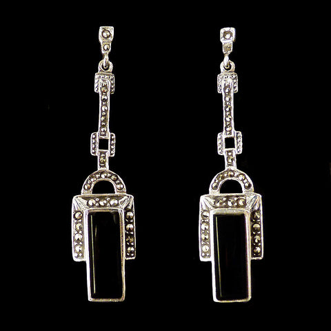 Luke Stockley Marcasite Art Deco Black Onyx Earrings (EAE239O)