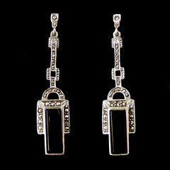 Sterling Silver & Marcasite Art Deco Black Onyx Earrings - main