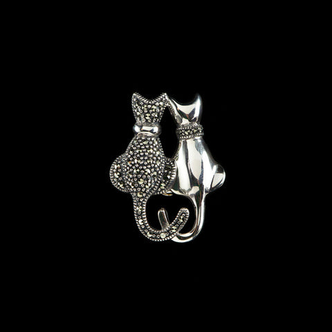 Luke Stockley Sterling Silver & Marcasite Double Cat Brooch (M3059)
