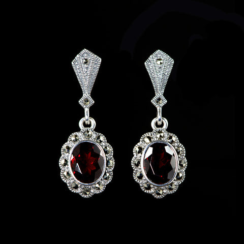 Luke Stockley Marcasite Garnet Oval Drop Earrings (HE251GN)