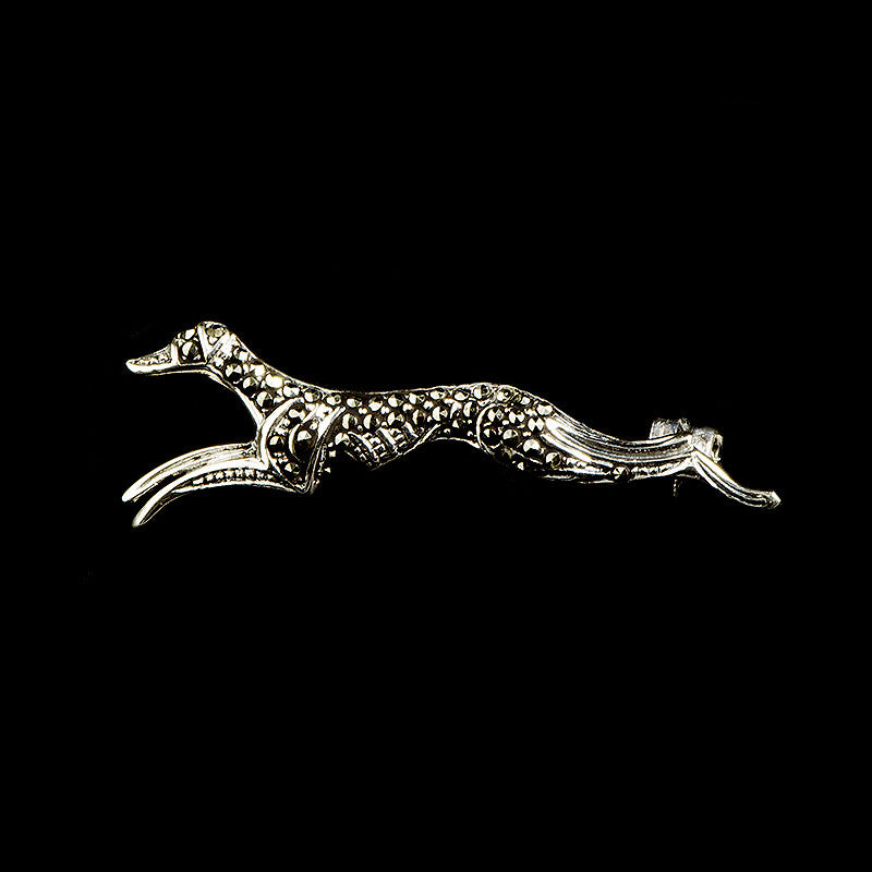Luke Stockley Marcasite Teeny Tiny Greyhound Brooch (AB240)