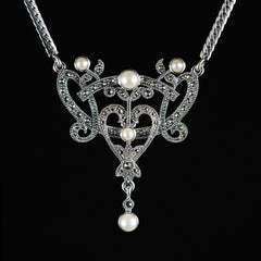 Sterling Silver & Marcasite Art Nouveau Pearl Necklace - front