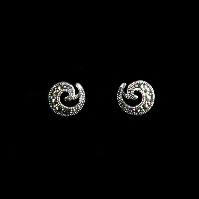 Luke Stockley Marcasite & Silver Plain Spiral Stud Earrings (HE589)