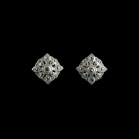 Luke Stockley Marcasite & Silver Square Stud Earrings (HE26)