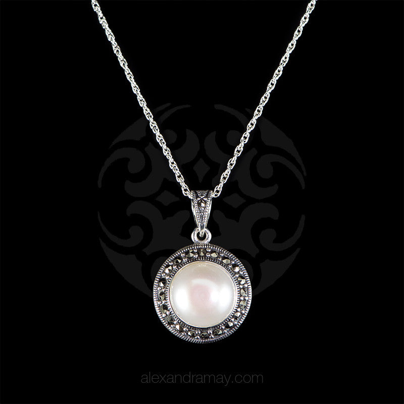 Luke stockley sterling silver marcasite pearl necklace luke stockley sterling silver marcasite classic pearl pendant necklace hp572pl mozeypictures Image collections