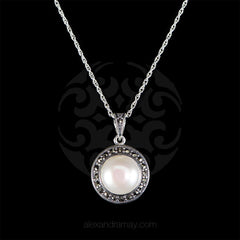 Luke Stockley Sterling Silver & Marcasite Classic Pearl Pendant Necklace (HP572PL)
