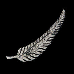 Luke Stockley Sterling Silver & Marcasite Leaf Feather Brooch (M3068) back
