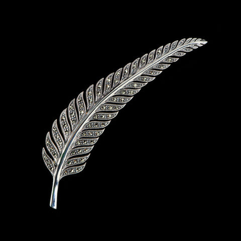 Luke Stockley Sterling Silver & Marcasite Leaf Feather Brooch (M3068)