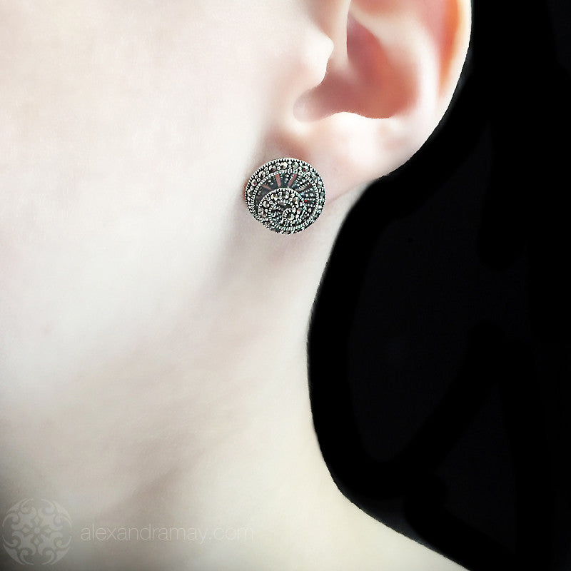 Luke Stockley Marcasite Spiral Stud Earrings (HE650)