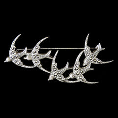 Sterling Silver & Marcasite Flock of Swallows Brooch - main