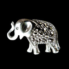 Sterling Silver & Marcasite Tiny Elephant Brooch - main