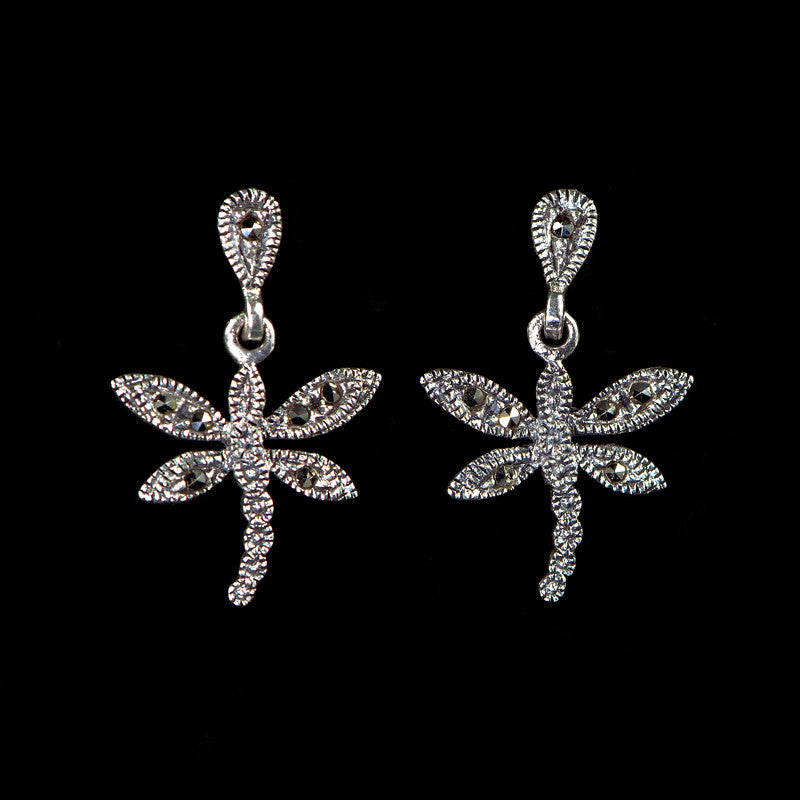 Sterling Silver & Marcasite Small Dragonfly Pierced Earrings - main