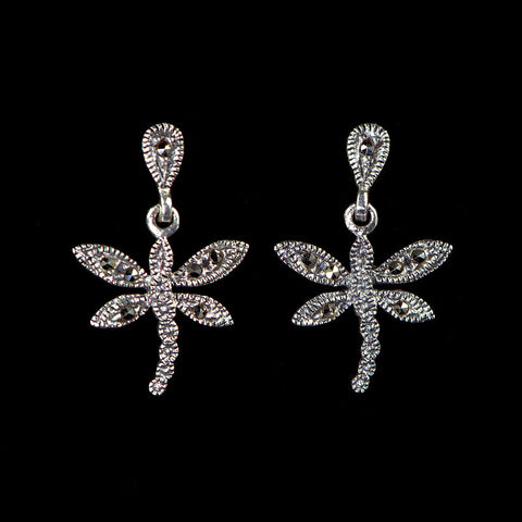 Luke Stockley Sterling Silver & Marcasite Small Dragonfly Pierced Earrings (KE71373)