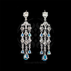 Luke Stockley Marcasite & Blue Opal Cascade Earrings (HE684BOP)