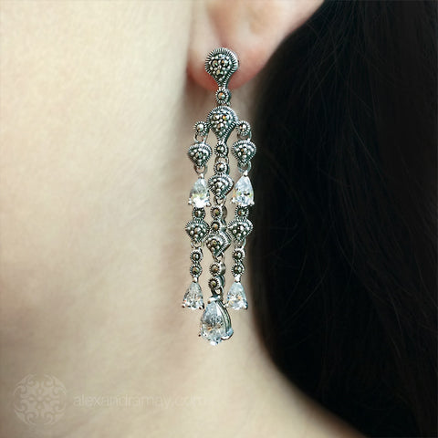 Luke Stockley Marcasite & CZ Cascade Earrings (HE684CZ) model