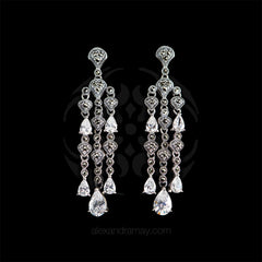 Luke Stockley Marcasite & CZ Cascade Earrings (HE684CZ)