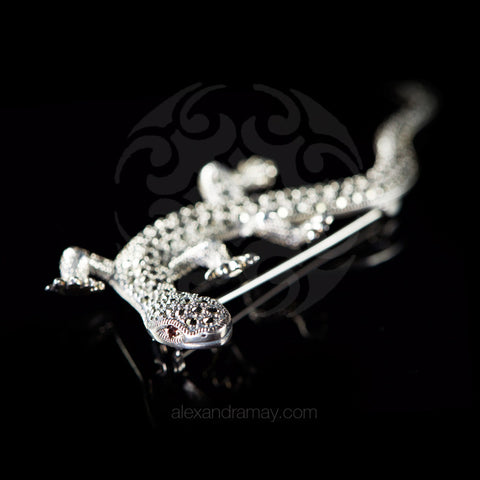 Luke Stockley Sterling Silver & Marcasite Super Large Lizard Brooch (HB2)