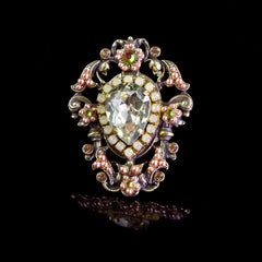 Michal Negrin Spectacular Lemon Crystal & Pearl Ring (157300/6) Front