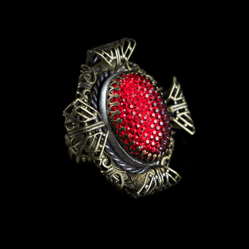 Ollipop Large Bronze Filigree Red Resin Glass Ring (R415RV)