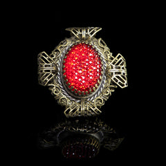 Ollipop Large Filigree Red Resin Glass Ring (R415RV) Front