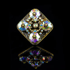 Ollipop Square AB Flower Crystal Ring (R374) Front