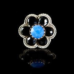 Ollipop Black Onyx & Blue Agate Flower Ring (R175) Front