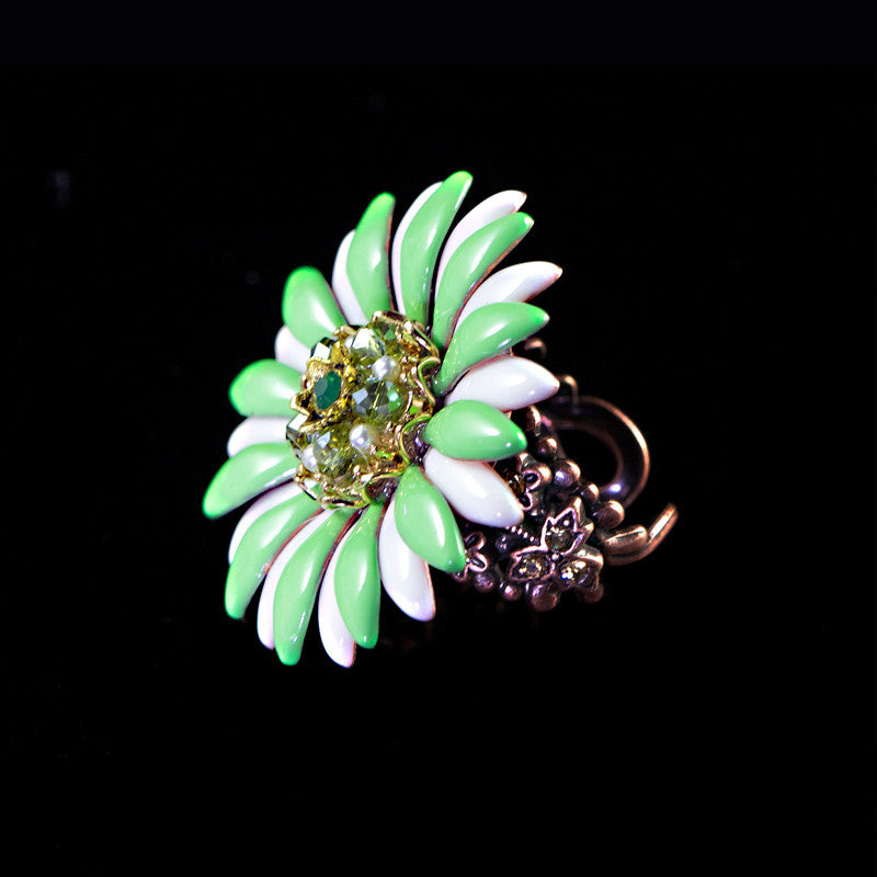 Ollipop Green & White Enamel Daisy Flower Ring (R377GR) Side
