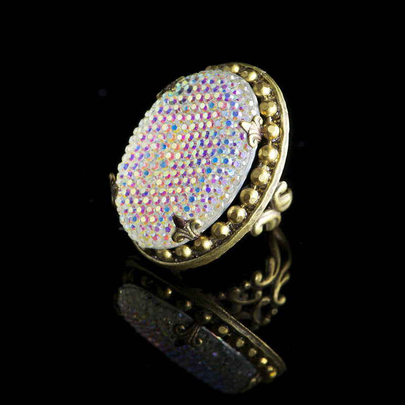 Ollipop 'AB' Resin Crystal Iridescent Ring (R166)