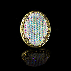 Ollipop 'AB' Resin Crystal Iridescent Ring Front