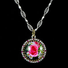 Ollipop Fuchsia Rose Pendant Necklace (N1115) Front