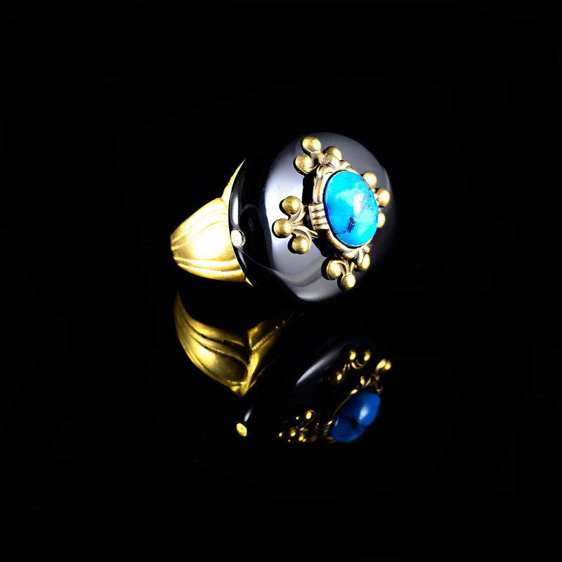 Patrice Black Onyx & Turquoise Oval Ring (7ND BOT)
