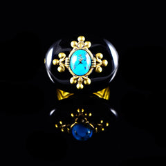 Patrice Black Onyx & Turquoise Oval Ring (7ND BOT) Front