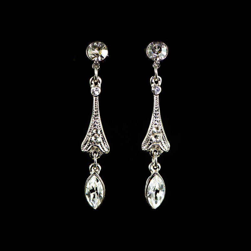 Peter Lang Small Classic Drop Diamante Earrings - main