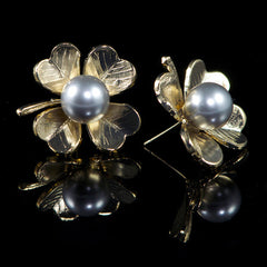 Philippe Ferrandis Large 'Lutetia' Four Leaf Clover Stud Earrings (LU11Grey)