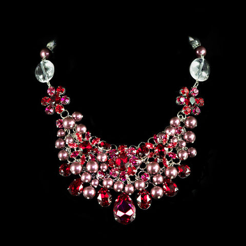Philippe Ferrandis Red Crystal & Pearl Necklace (LIZ 23)