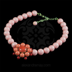Philippe Ferrandis 'Polynesia' Salmon Pink & Coral Glass Bead Necklace (POL21/2)