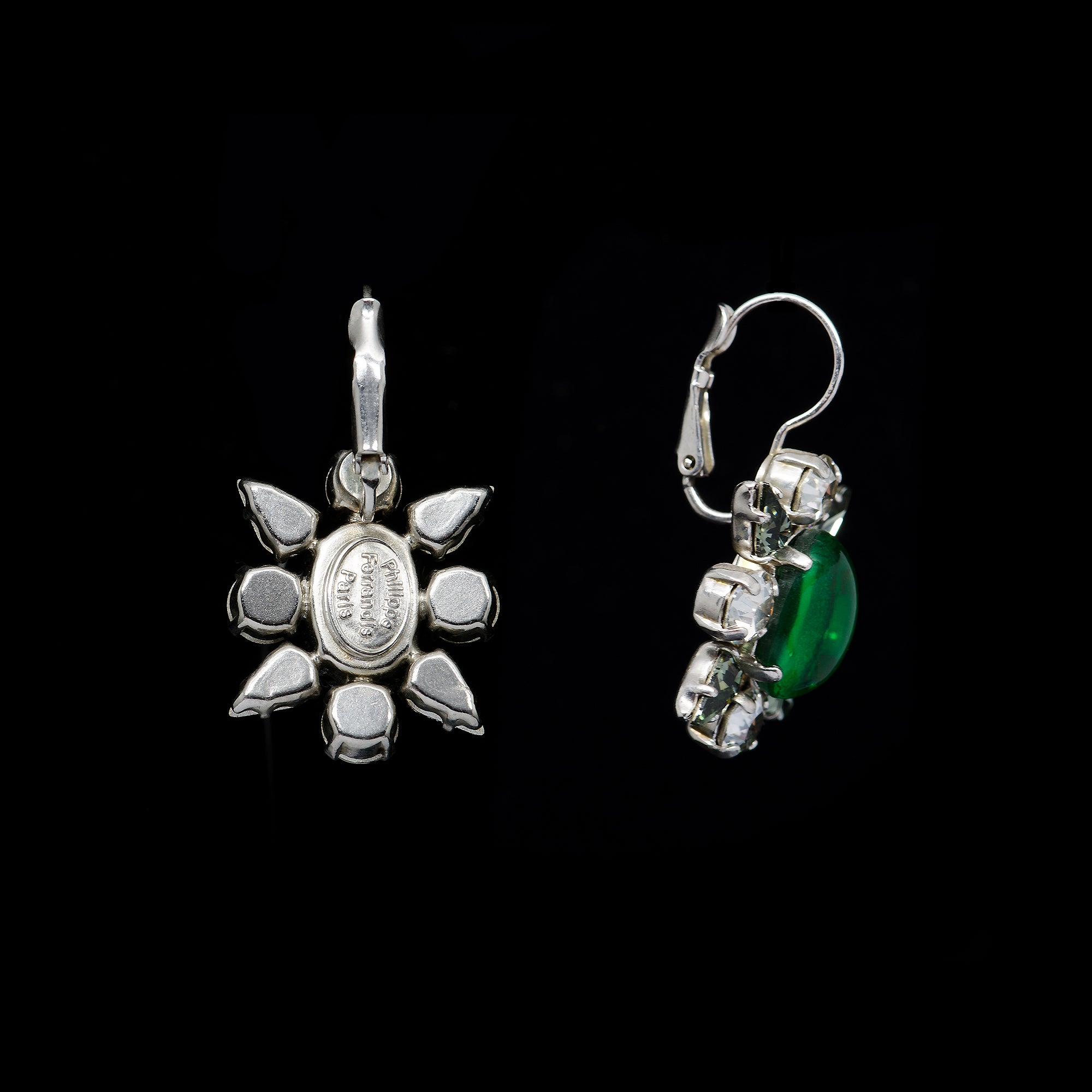 Philippe Ferrandis Glamorous Green Hook Earrings (R210 2/5) back